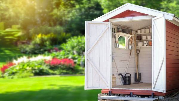 garden shed with tools inside