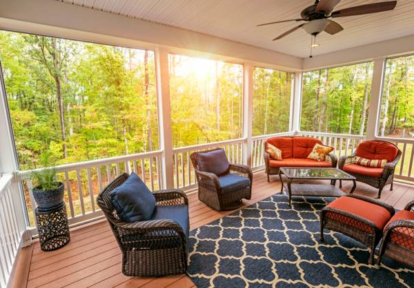 screened in porch during the fall