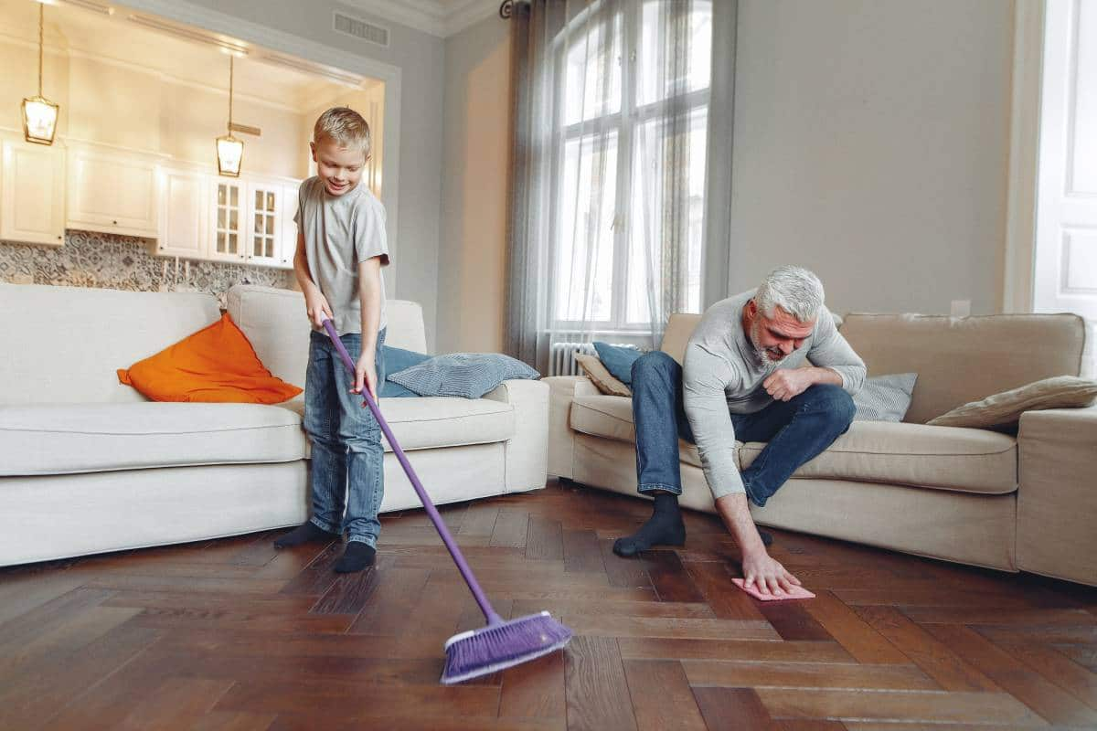 elder and child cleaning