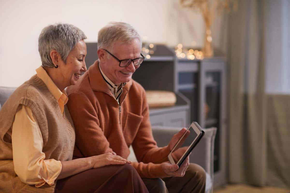 elders watching screen