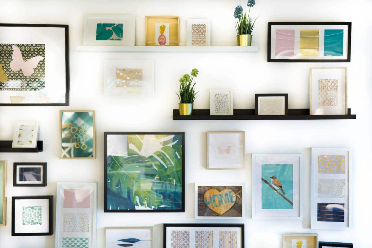 creative wall with assorted paintings