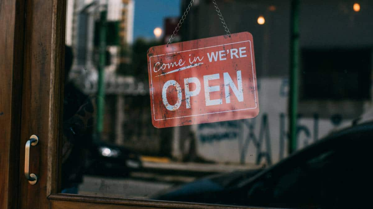 open sign on small business during lockdown