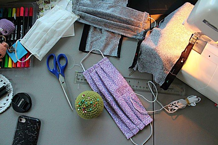 Making a purple mask using sewing machine